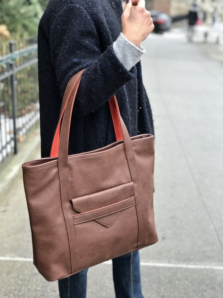 vegan leather tote in brown