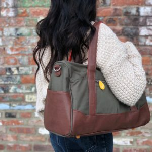 Canvas duffel bag with vegan leather