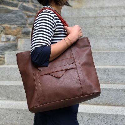 vegan leather tote & brown laptop bag