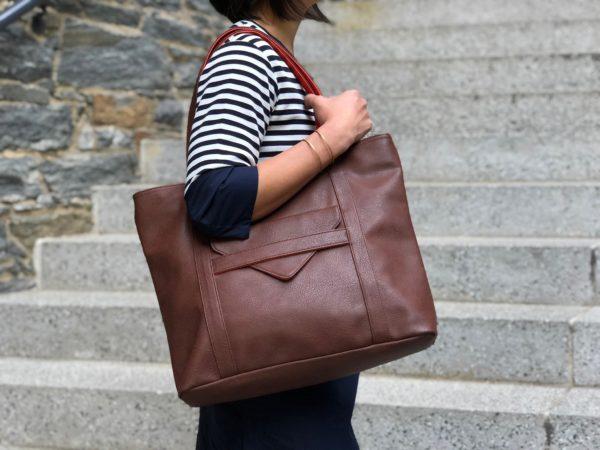 vegan leather tote & brown laptop bag