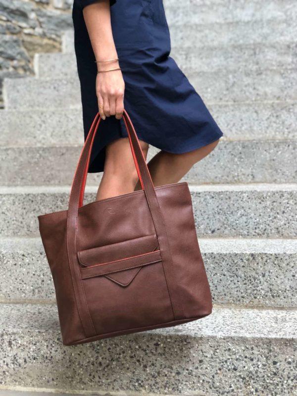 vegan leather handbag and laptop bag for women