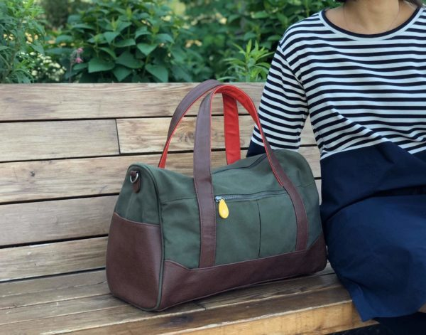 weekend duffle bag, olive green organic cotton and brown vegan leather