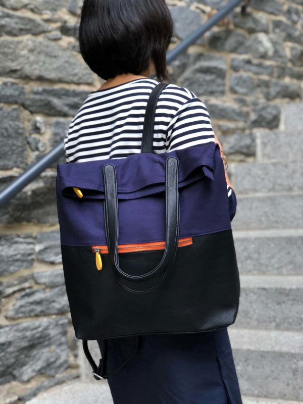 navy and black vegan backpack purse