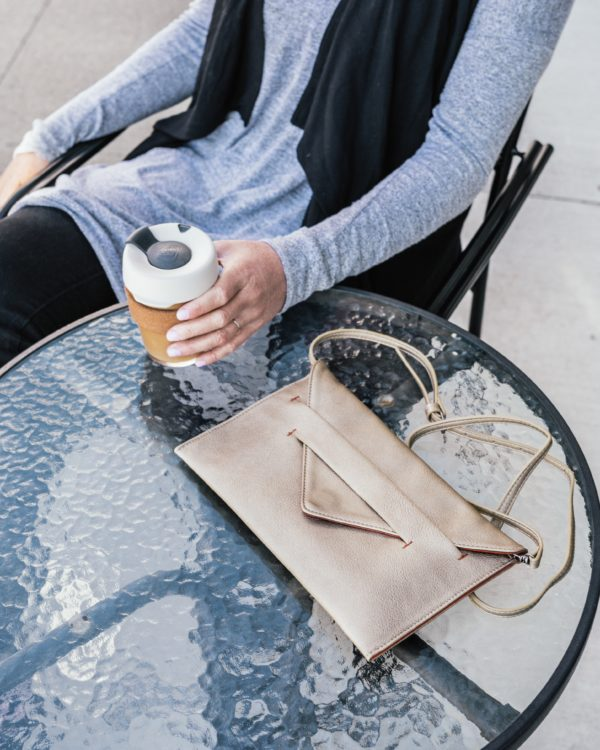 clutch wallet in gold vegan leather