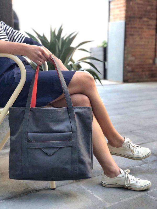 vegan laptop bag in charcoal gray, cruelty free handbag