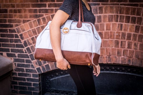 womens weekender bag in gray organic canvas and brown vegan leather