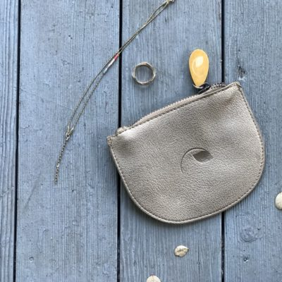 gold pouch in vegan leather