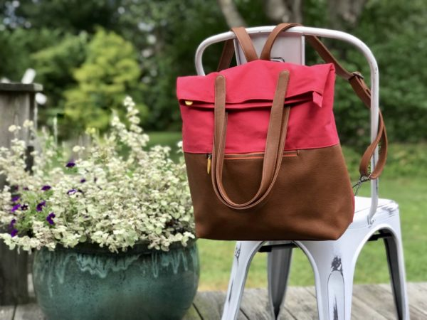 red backpack in canvas and vegan leather