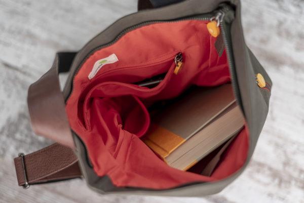 interior of convertible vegan backpack