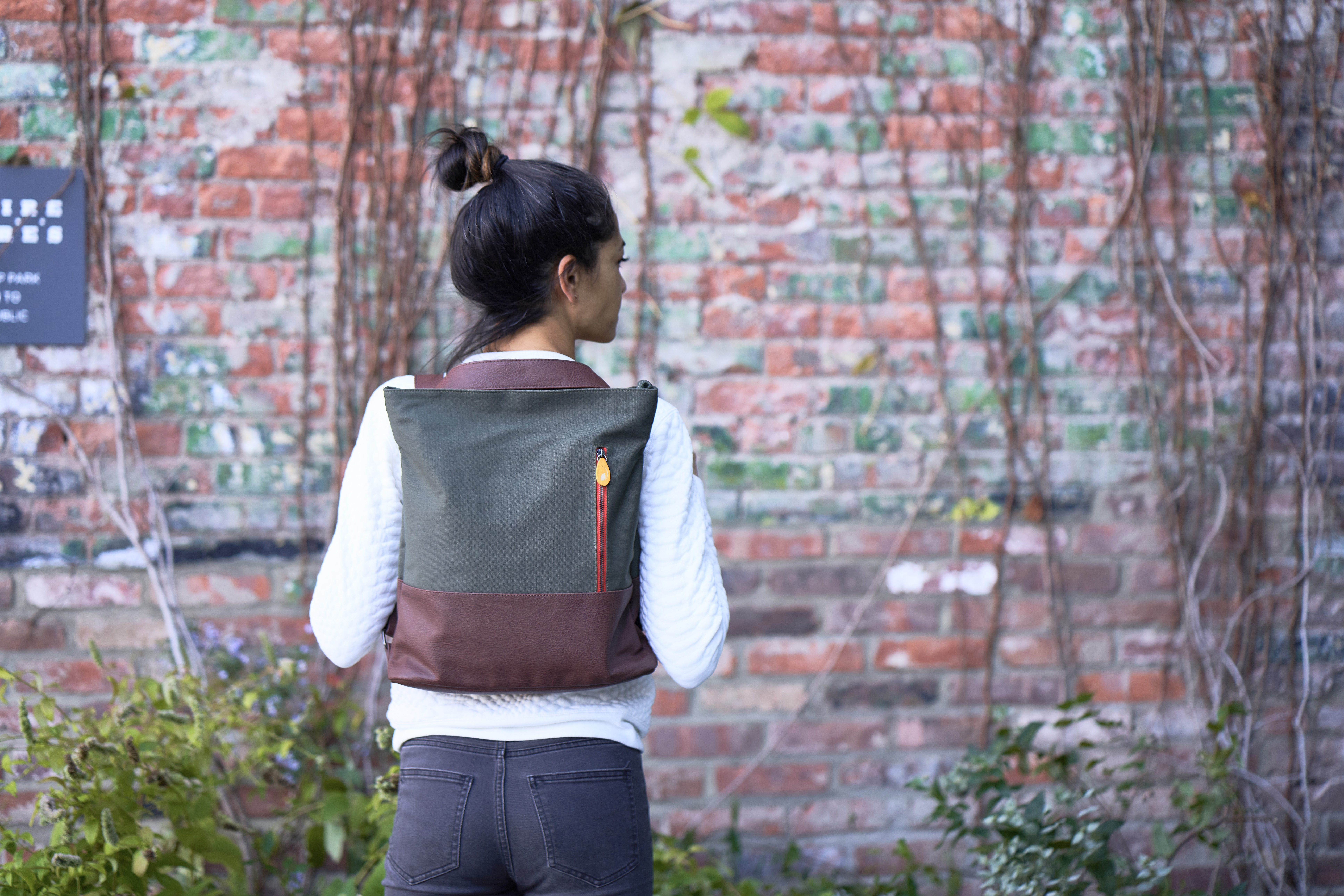 convertible backpack tote, organic cotton and vegan leather