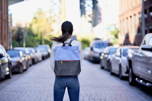 chambray denim backpack with vegan leather