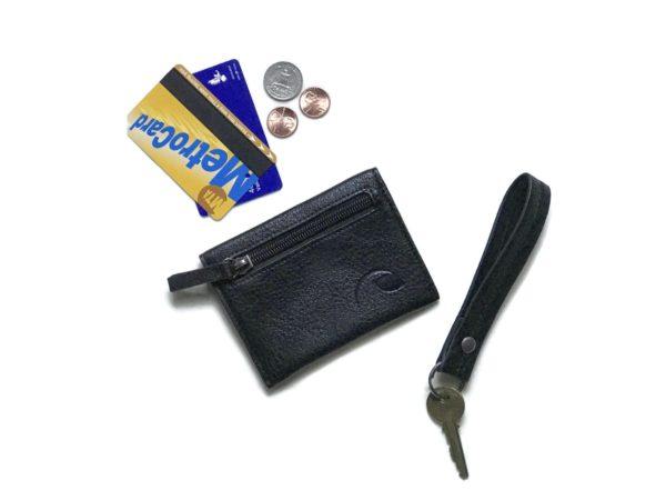 black keychain wristlet and vegan wallet