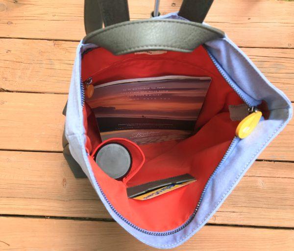 vegan backpack interior with zippered pocket