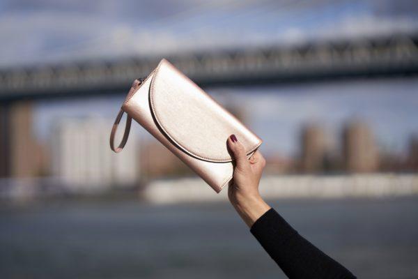 rose gold women's wallet in vegan leather