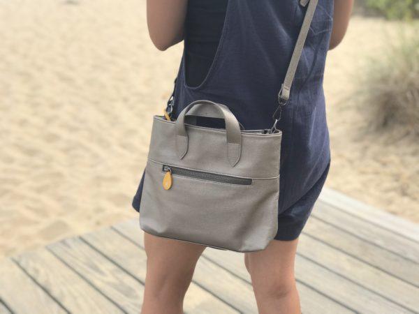 metallic purse and crossbody bag in vegan leather