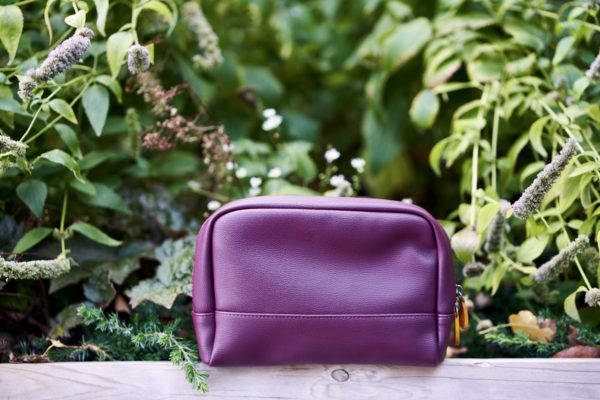 toiletry and makeup pouch in faux leather
