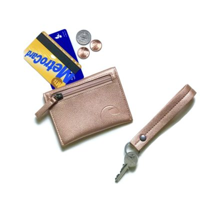 vegan gift set with coin wallet and key fob wristlet