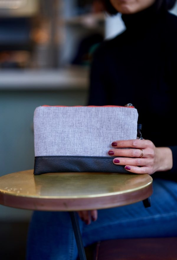 gray clutch, vegan and sustainable