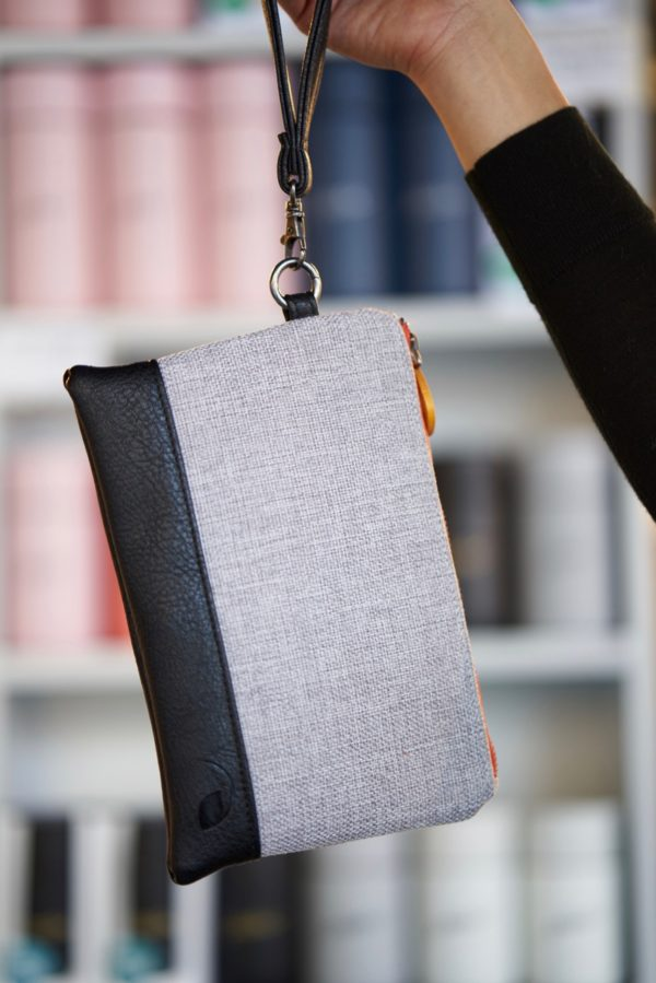 clutch purse in gray and black