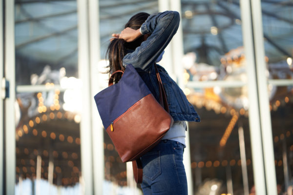 navy vegan backpack, cruelty free and sustainable
