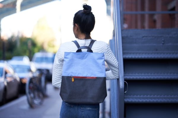 canvas backpack with vegan leather