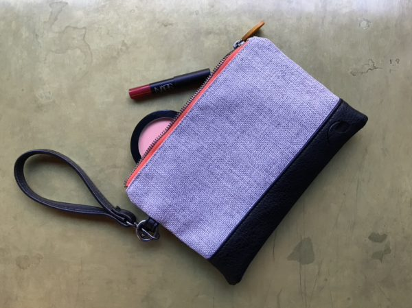 cute phone wristlet in gray and black vegan leather