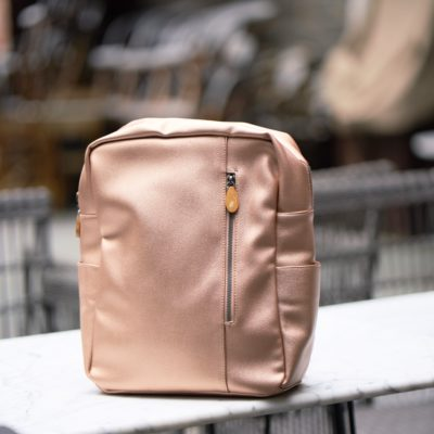 women's backpack in metallic vegan leather