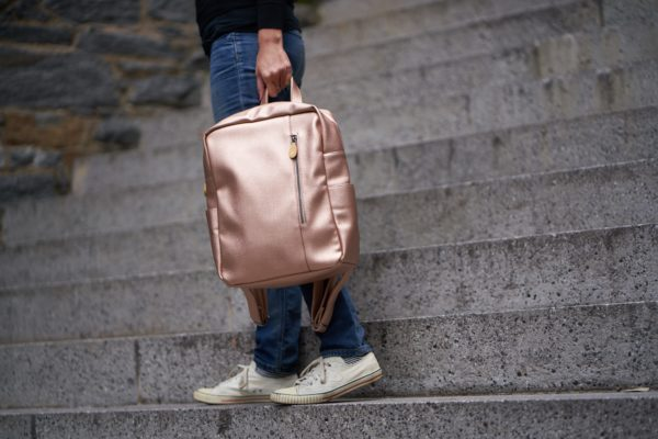 vegan backpack purse in rose gold