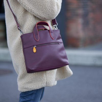 burgundy crossbody bag in vegan leather