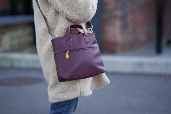 burgundy crossbody bag in vegan leather