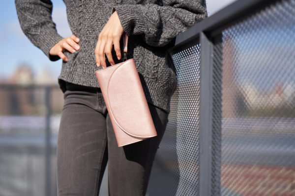 rose gold wallet clutch in vegan leather