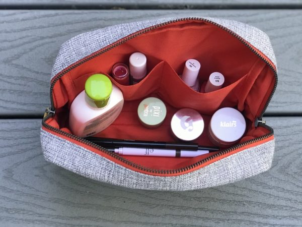 interior of toiletry pouch in vegan leather